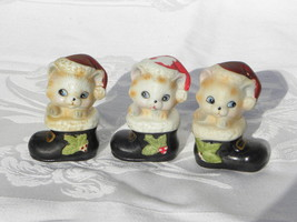 Trio of Vintage Homco Kittens or Cats in Black Stockings Figures, #8903 - $7.99