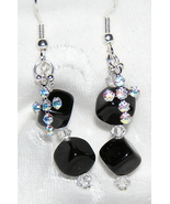 Black Onyx, Swarovski Crystal and Sterling Silv... - $14.00