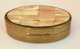 Vintage Max Factor Trinket Snuff Pill Lipstick Box Brass Mother of Pearl image 7