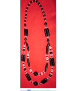 Artisan Dual Strand Black and Crystal Glass Necklace 24 inch - $29.50