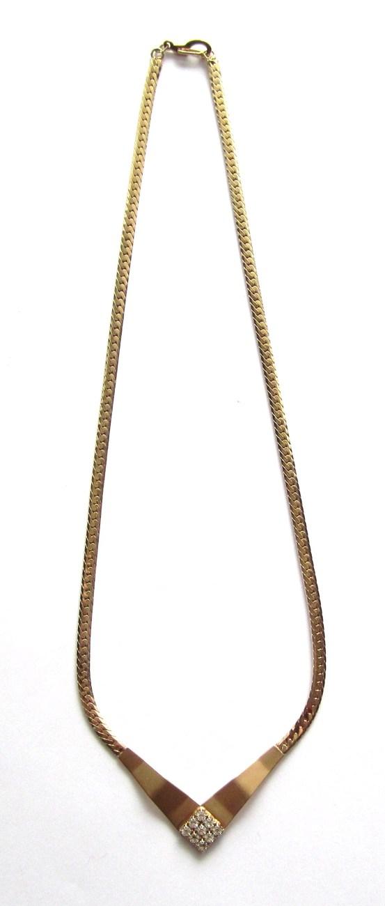 Goldtone and rhinestone necklace. Circa 1970s-80s
