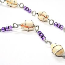 NECKLACE THE ALUMINIUM LONG 18 7/8in WITH SHELL HEMATITE AND CRYSTALS STRASS image 6