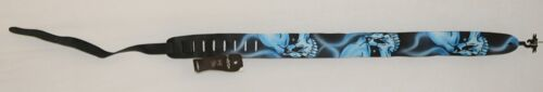 Perris Leathers P25AB332 Leather Black With Blue Skulls Guitar Strap