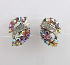 Coro Earrings AB Rhinestones Silver Clip On Backs Aurora Borealis 9019 - $14.85
