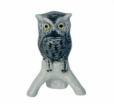 Owl figurine vtg sculpture Goebel Hummel Western Germany W gray perch bi... - $39.55