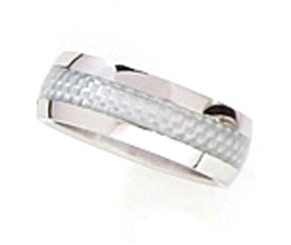 SSR06 8mm Silver Carbon Fiber Stainless Steel Ring Size 12