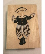 "Sailor Outfit Baby Wood Mounted Rubber Stamp by Aunt Amy Stamps NEW 3.5""... - $9.99"