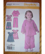 Simplicity 4107 Toddlers Pants Gauchos Dress Tunic Pattern Sz 1/2-4 - $6.99