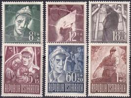1947 Prisoners of War Set of 6 Austria Postage Stamps Catalog Number B218-23 MNH