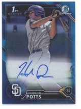 2016 Bowman Chrome Draft Draft Pick Autographs Blue Refractors Hudson Po... - $40.00