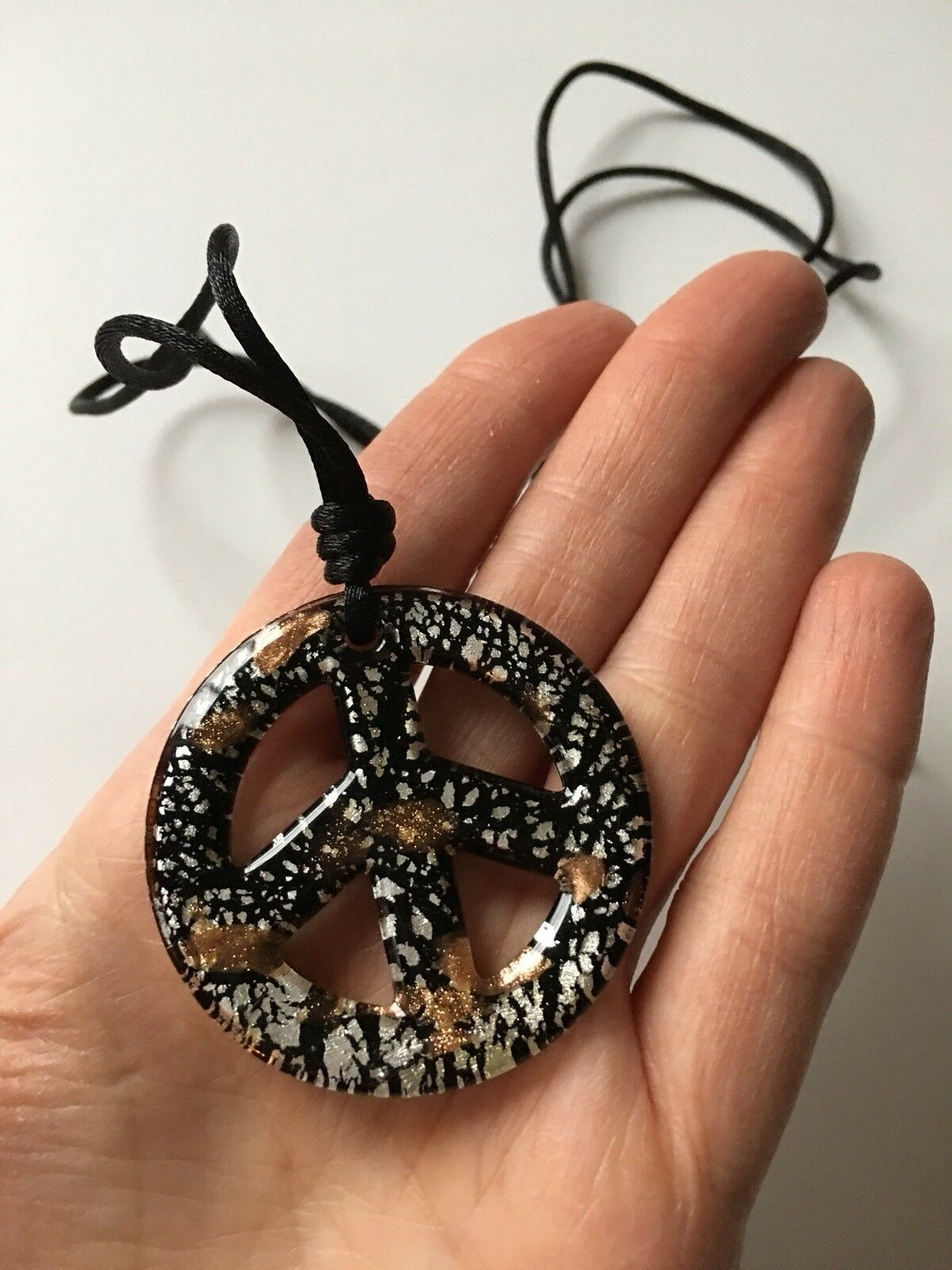 Black Glass Boho Peace Sign corded necklace