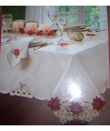 Merry Poinsettia Christmas Tablecloth Embroidered 60 x 84 Oblong NEW Gol... - $40.00