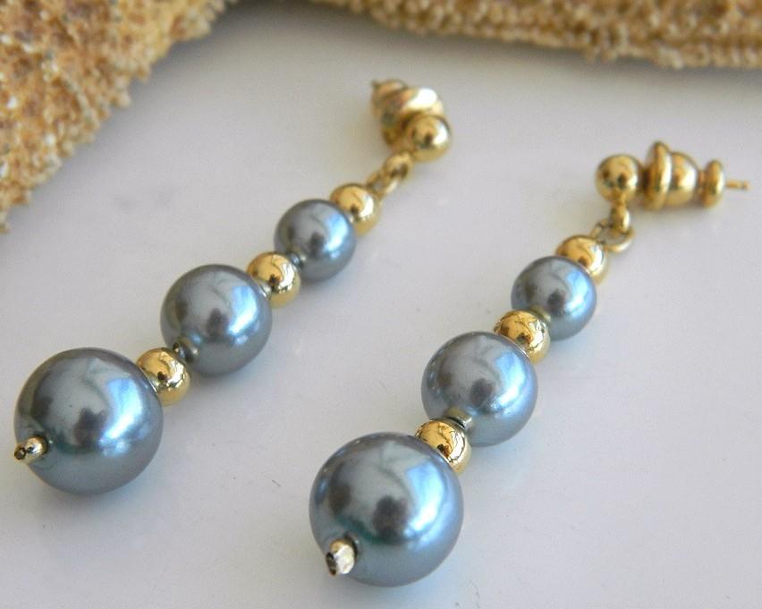 Vintage Grey Faux Pearls Beaded Necklace Earrings Set Japan