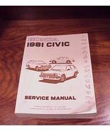 1981 Honda Civic Car Service Manual, Book - $9.95