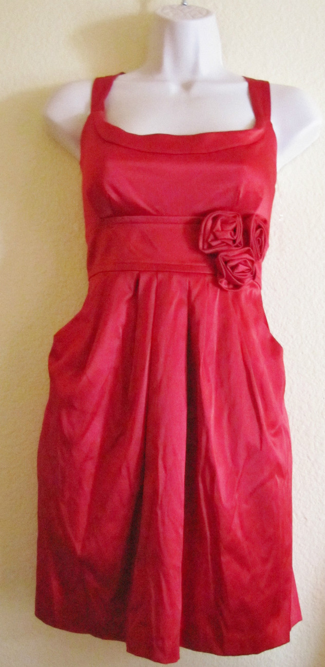 NEW WISHES WISHE WISHES COCKTAIL/PARTY/CLUB MINI DRESS, SZ 11,TRUE RED,ROSES,HOT
