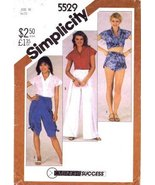 Simplicity 5529 Sewing Pattern Misses Shirt Front-Wrap Pants Knickers Sh... - $12.86