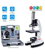 AmScope 52pc 120X-1200X Starter Compound Microscope Science Kit for Kids (White) - $90.00