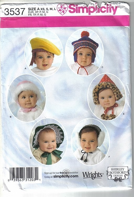 Simplicity Pattern 3537 Baby and Toddler 6 Hats in 4 Sizes by Shirley Botsford