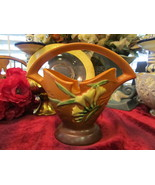 Roseville USA Art Pottery Terracotta Freesia Basket 390-7 - $195.00