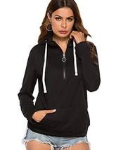 Women Long Sleeve Loose Fit Pullover Hood Sweatshirt Top with ZipperL,Black - $27.91