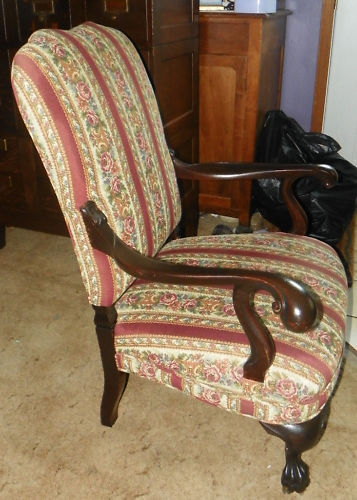 Mahogany Carved Karpen Armchair Parlor Chair