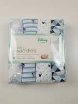 Aden + Anais Disney Baby Muslin Swaddles Mickey Blue 100% Cotton Pack of 4  - $30.40
