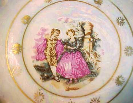 Vintage Stylecraft Pearlized Cup & Saucer w/Victorian Couple -Made in Japan