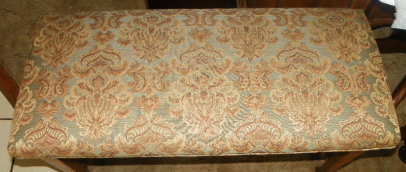 Walnut Jacquard Print Piano Bench Entry Bench