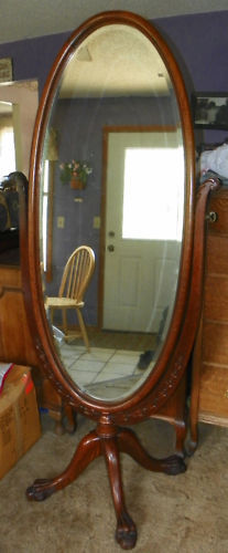 Quartersawn Oak Carved Oval Cheval Mirror Hall Mirror
