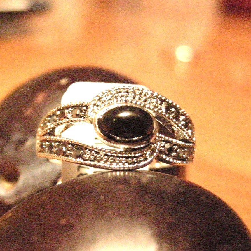Silver Rhodium Ring Onyx Marcasite Set