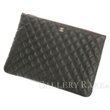 CHANEL Classic Large Pouch Lambskin Black A82552 Clutch Bag Authentic 53... - $1,125.28