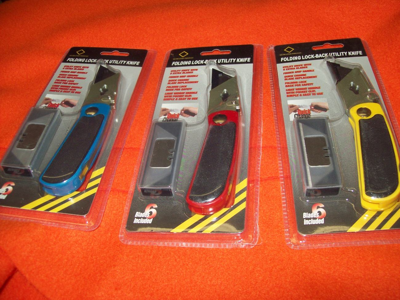 YELLOW FOLDING LOCK-BACK UTILITY BOX CUTTER KNIFE WITH 6 QUICK CHANGE BLADES