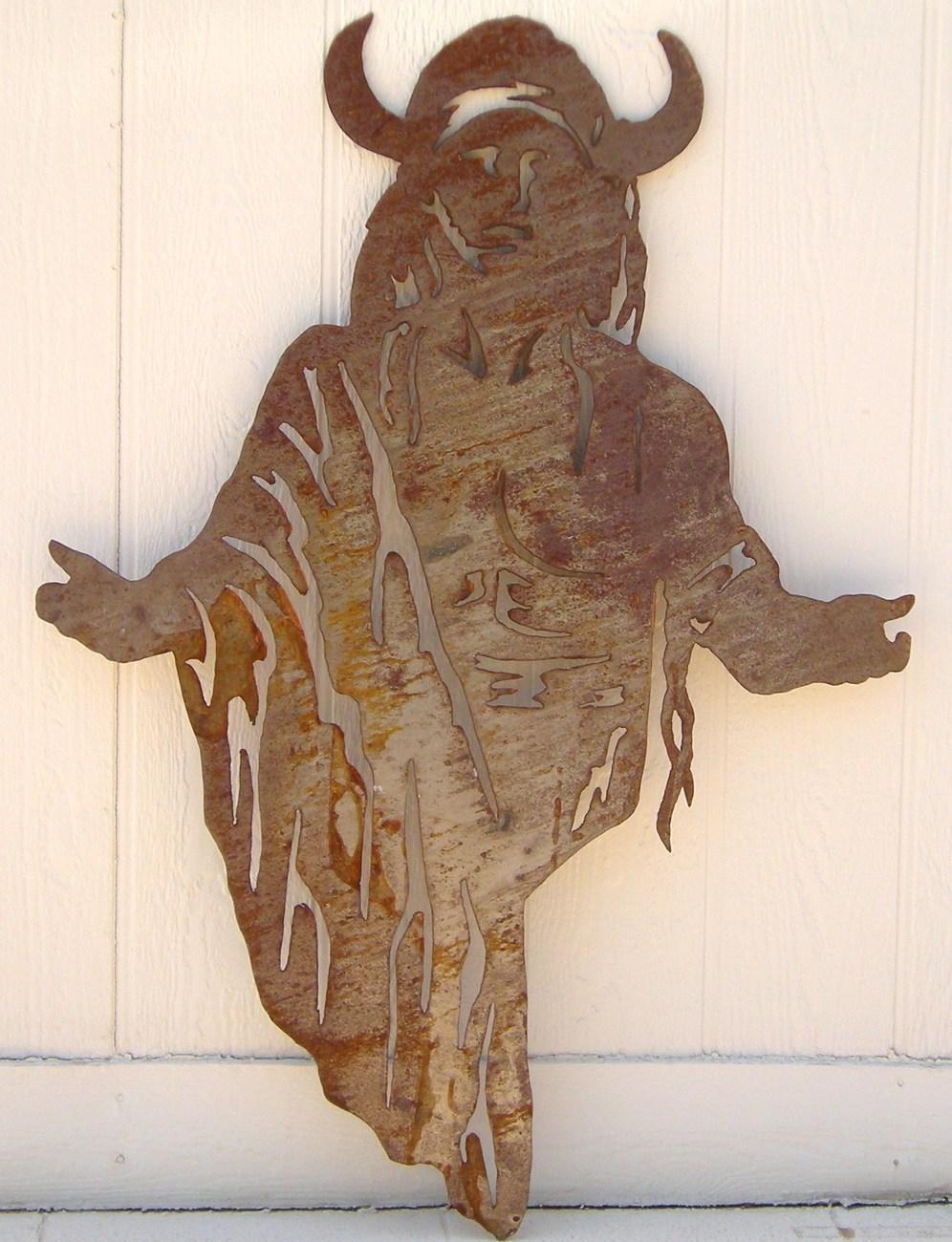 Huge Western Rust Sheet Metal Art Indian Native American 3