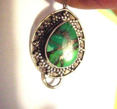 Wrought  Silver Turquoise Copper Pendant - $18.95