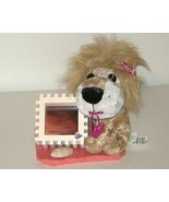 Plush Lion w Wooded Photo Frame on Painted Marb... - $9.00