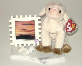 Ty Ewey Lamb Sheep w Wood Photo Frame on Marble Base 46 - $9.00