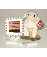 Ty Ewey Lamb Sheep w Wood Photo Frame on Marble... - $9.00