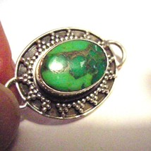 Oval Sterling Pendant Turquoise Copper - $15.95