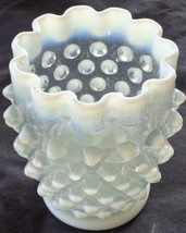 Antique Anchor Hocking Moonstone Crimped Edge Vase – VGC –CLEAR OPALESCE... - $24.74