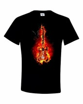 Flaming Electric Guitar 2 Black Shirt 100% Cotton Tee by BMF Apparel - $20.79+