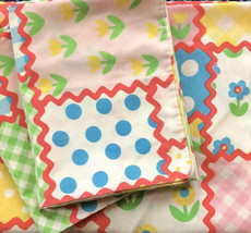VTG Perma Prest Sears TWIN Flat Bed Sheet 2 Standard Pillowcases Patchwo... - $34.99