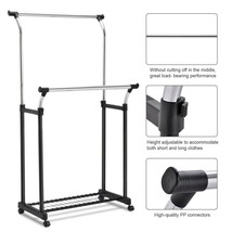 Dual Bar Stand Clothes Rack | Double Adjustable Hanger with Shoe Rack w/... - £33.31 GBP