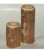 Montana Lodge Pole Pine Wood Candle Holders Set... - $8.00