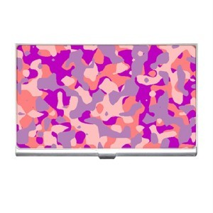 PINK CAMOUFLAGE Design Business Card Holder Case NEW Blue Skies Plus LLC