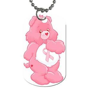 Breast Cancer Pink Care Bear Dog Tags Necklace Jewelry Blue Skies Plus LLC