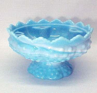 Fenton Art Glass Blue White Hobnail Candle Bowl Holder