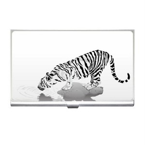 White Tiger Reflection Business Card Holder Case Blue Skies Plus LLC