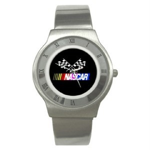 New Nascar Checkered Racing Flag Stainless Steel Watch Bonanza
