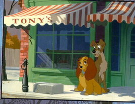 Disney Lady & Tramp at Tony's Dog Lithograph - $32.03