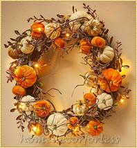 Lighted Rattan Velvet Pumpkin Wreath Fall Harvest Door Wall Hanging Home... - $29.53